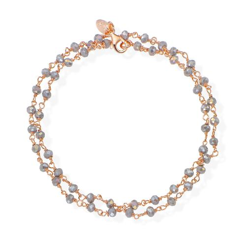 Rosè and Fumé Crystal two-turn Bracelet