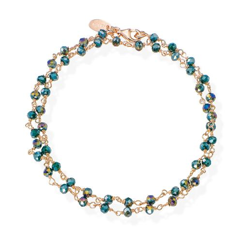 Rosè and Green Crystal two-turn Bracelet