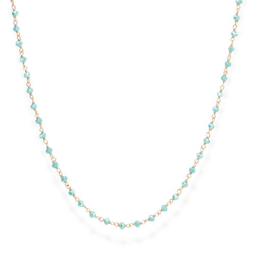 Rosè and Light Blue Crystal Necklace 70cm