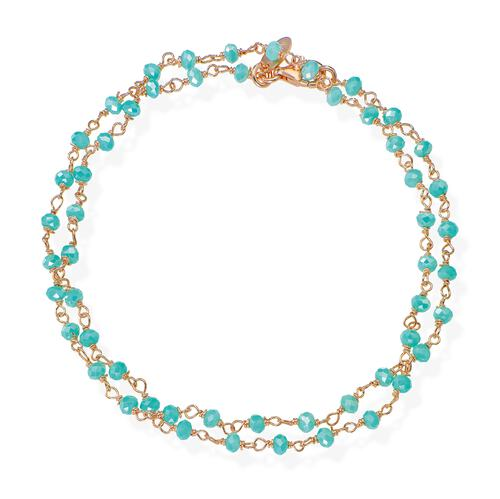 Rosè and Light Blue Crystal two-turn Bracelet