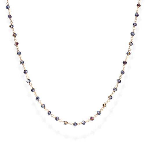 Rosè and Purple Crystal Necklace 70cm