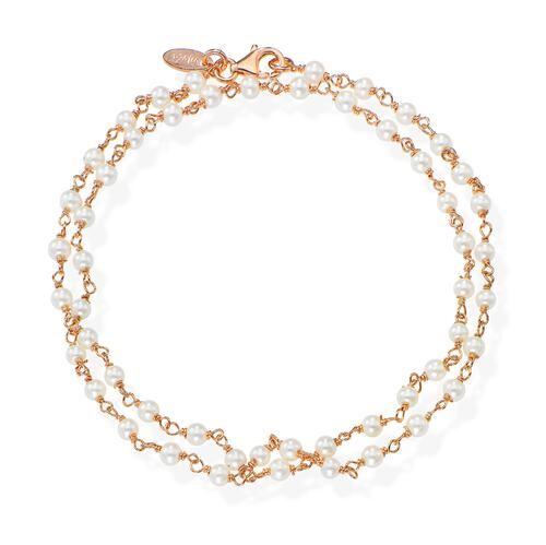 Rosè and White Crystal two-turn Bracelet