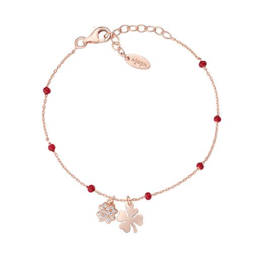 Rosè Bracelet and Red Enamel Shamrocks