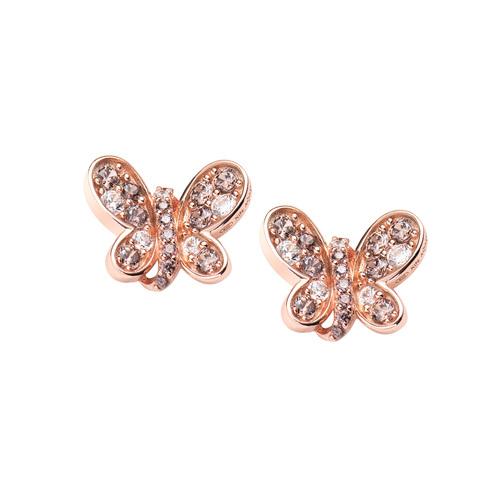 Rosè Butterfly Earrings Brown Zircons