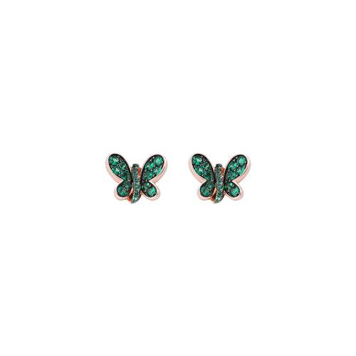 Rosè Butterfly Earrings Green Zircons