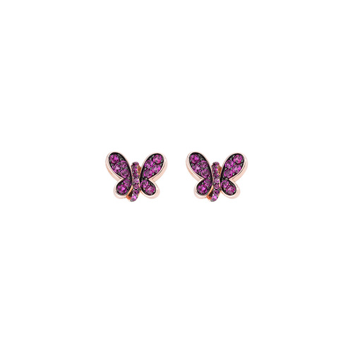 Rosè Butterfly Earrings Ruby Zircons