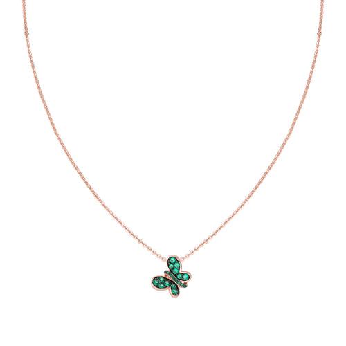 Rosè Butterfly Necklace Green Zircons