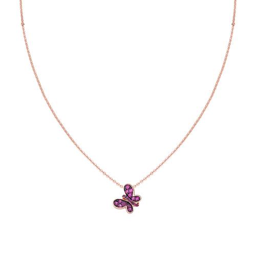 Rosè Butterfly Necklace Ruby Zircons