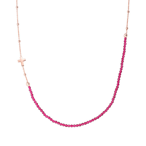 Rosè Cross Necklace and Ruby Crystals