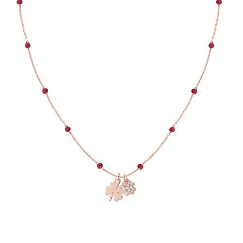 Rosè Necklace and Red Enamel Shamrocks