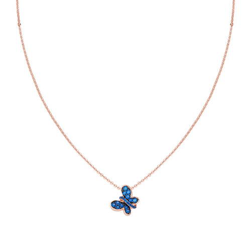Rosè Necklace Butterfly Blue Zircons