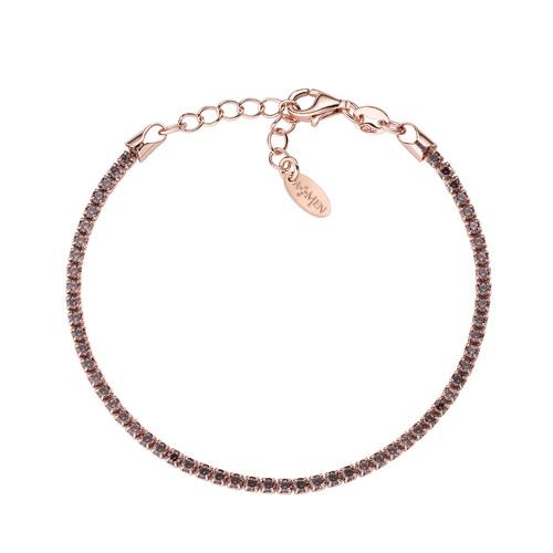 Rosè Tennis Bracelet Brown Zircons