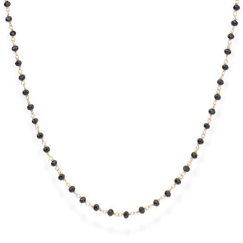 Rosé and Black Crystal Necklace 70cm