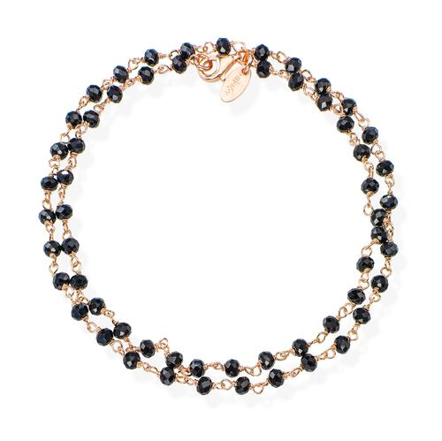 Rosé and Black Crystal two-turn Bracelet