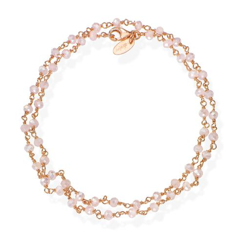 Rosé and Pink Crystal two-turn Bracelet