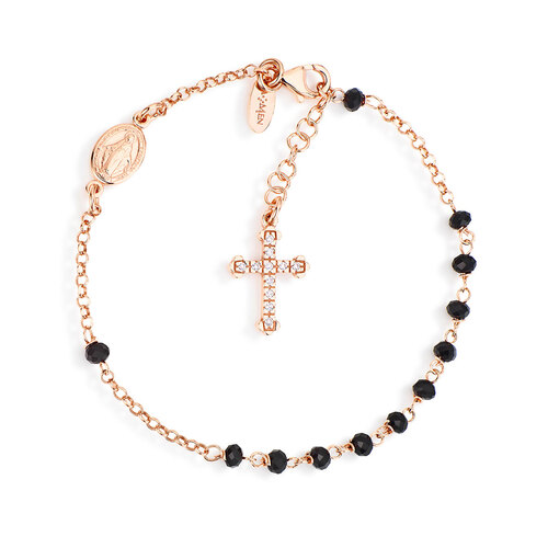 Rosary bracelet AG925 with crystals and cross pavè charm