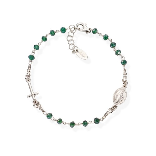 Rosary Bracelet Crystals Green Bottle