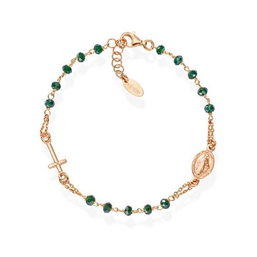 Rosary Bracelet Crystals Green Bottle