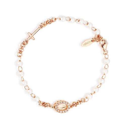 Rosary bracelet Miracolous pavè AG925 with pearls