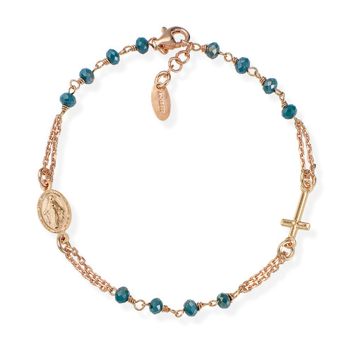 Rosary Bracelet Petroleum Blue Iridescent Crystals