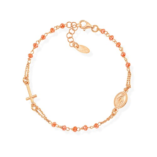 Rosary Bracelet with Coral crystals
