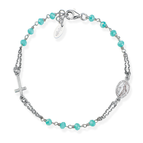 Rosary Bracelet with green and tiffany crystals