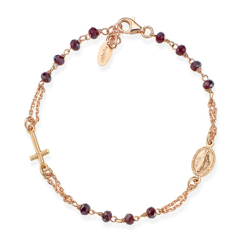 Rosary Bracelet with ruby red iridescent crystals