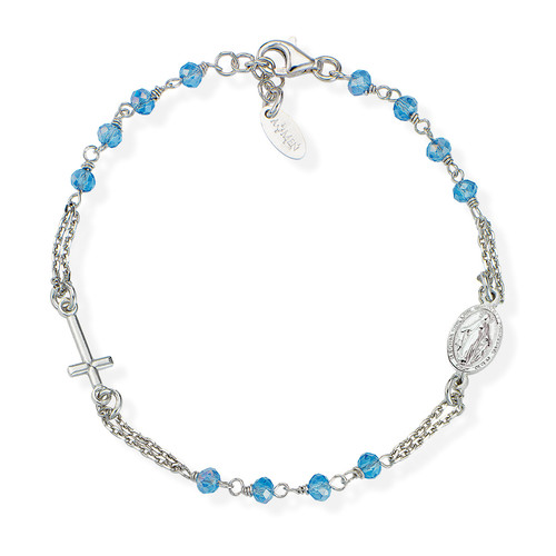 Rosary Bracelet with skyblue iridescent crystals