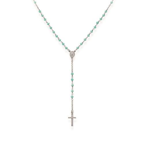 Rosary Classic with Aqua Green crystals