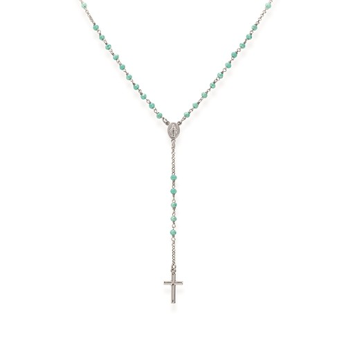 Rosary Classic with green and tiffany crystals