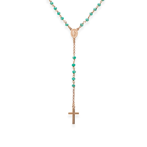 Rosary Classic with seagreen iridescent crystals