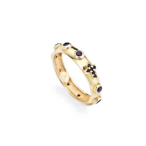 Rosary ring AG925 golden and zircon