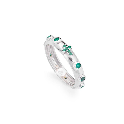 Rosary ring AG925 rhodium and zircon color