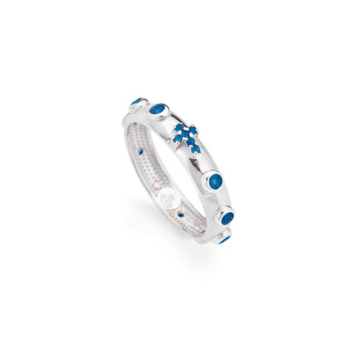 Rosary ring AG925 rhodium and zircon