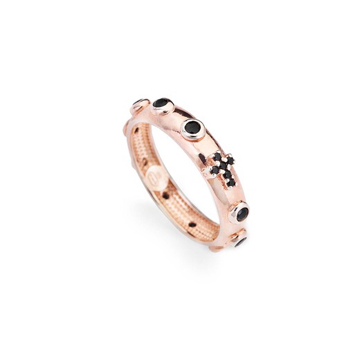 Rosary ring AG925 rosè with zircon