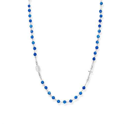 Rosary Round Necklace Blue Jade