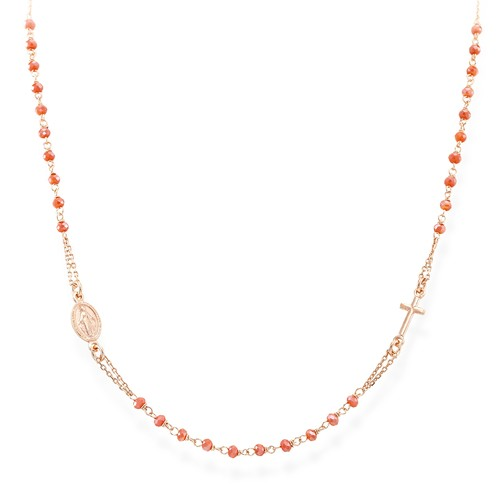 Rosary Round Necklace Coral Crystals