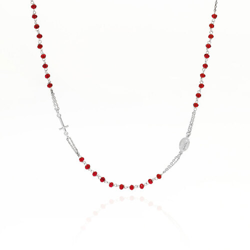 Rosary Round Necklace Crystal Pavè