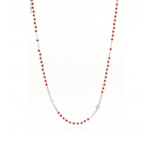 Rosary Round Necklace Crystal Red