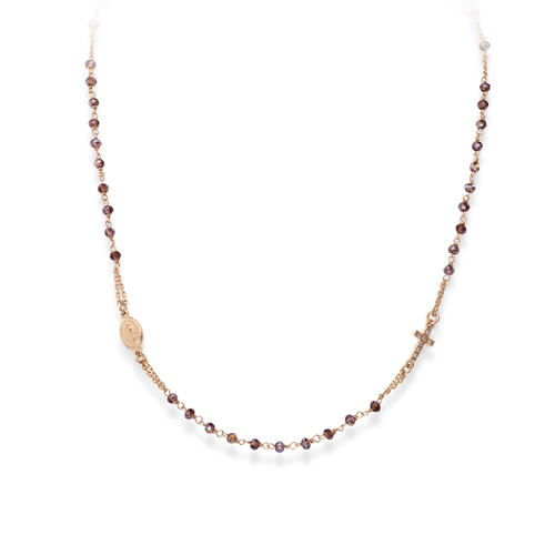 Rosary Round Necklace Crystal Wine Color