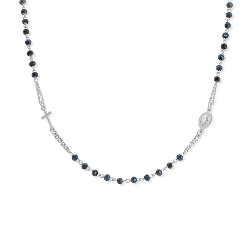 Rosary Round Necklace Crystal