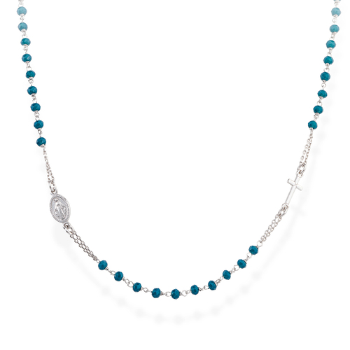 Rosary Round Necklace Crystals Blue