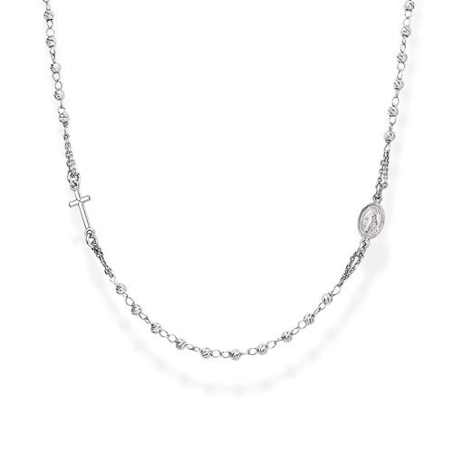 Rosary Round Necklace Diamond Silver