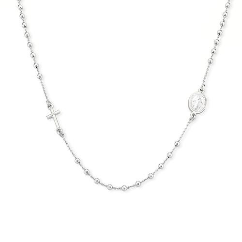 Rosary Round Necklace Rhodium