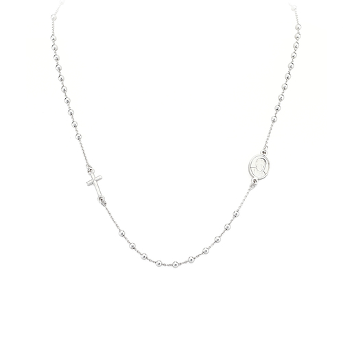 Rosary Round Necklace Rhodium
