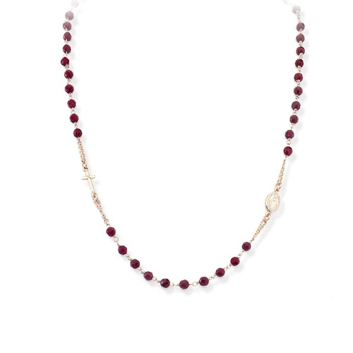 Rosary Round Necklace Ruby Agate