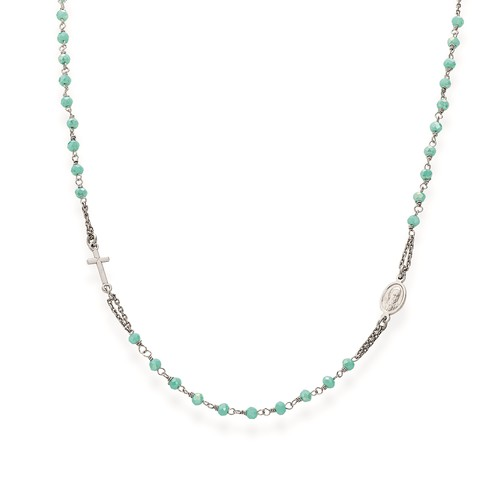 Rosary round-necklace with aqua green crystals