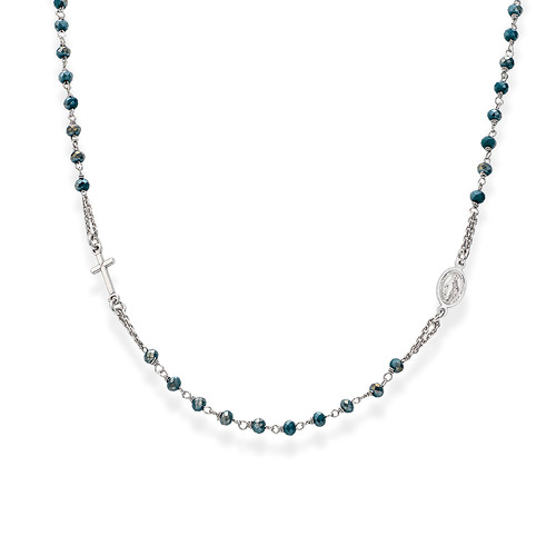 Rosary round-necklace with crystals petroleum blue iridescent crystals