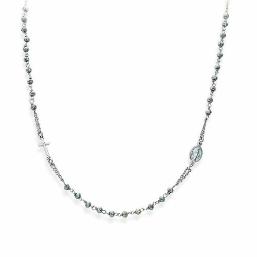 Rosary round-necklace with fumè crystals