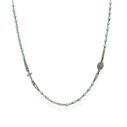 Rosary round-necklace with green and tiffany crystals